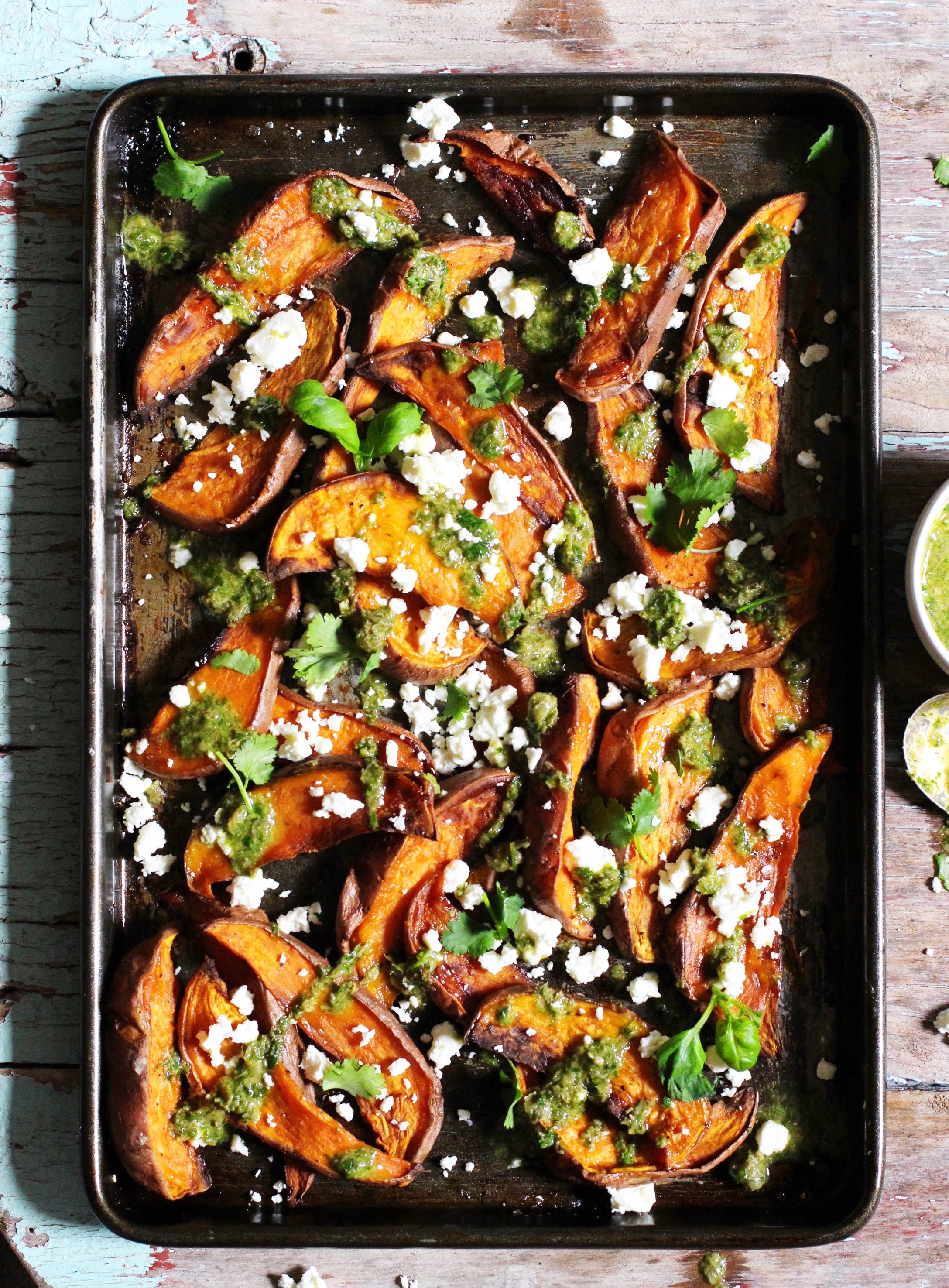 Sweet Potato Wedges with Salsa Verde & Feta 1