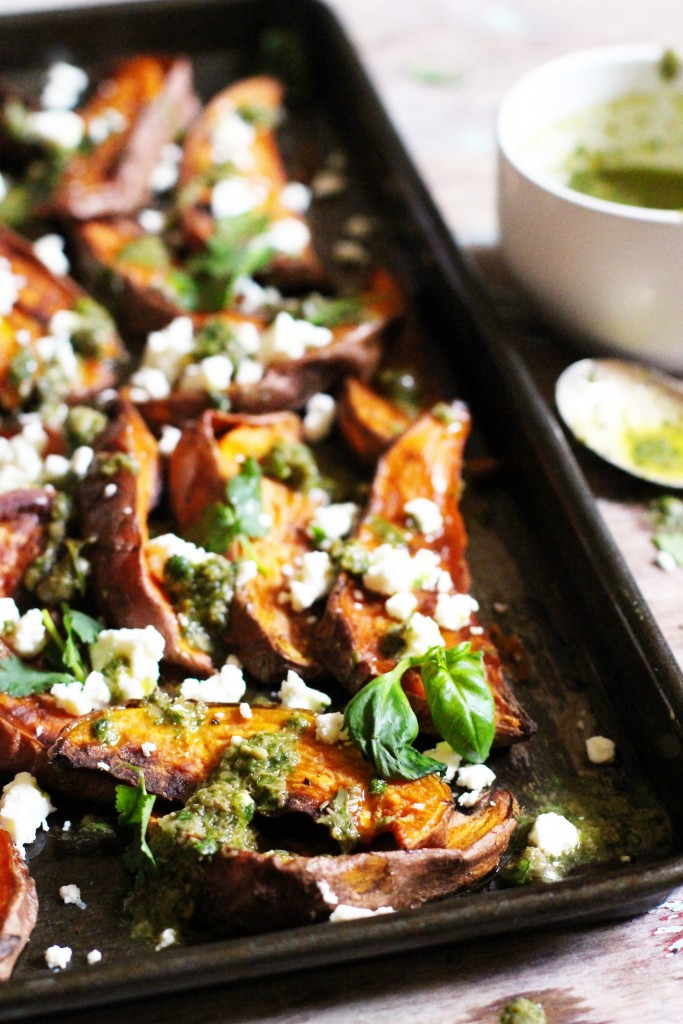 Sweet Potato Wedges with Salsa Verde & Feta 6