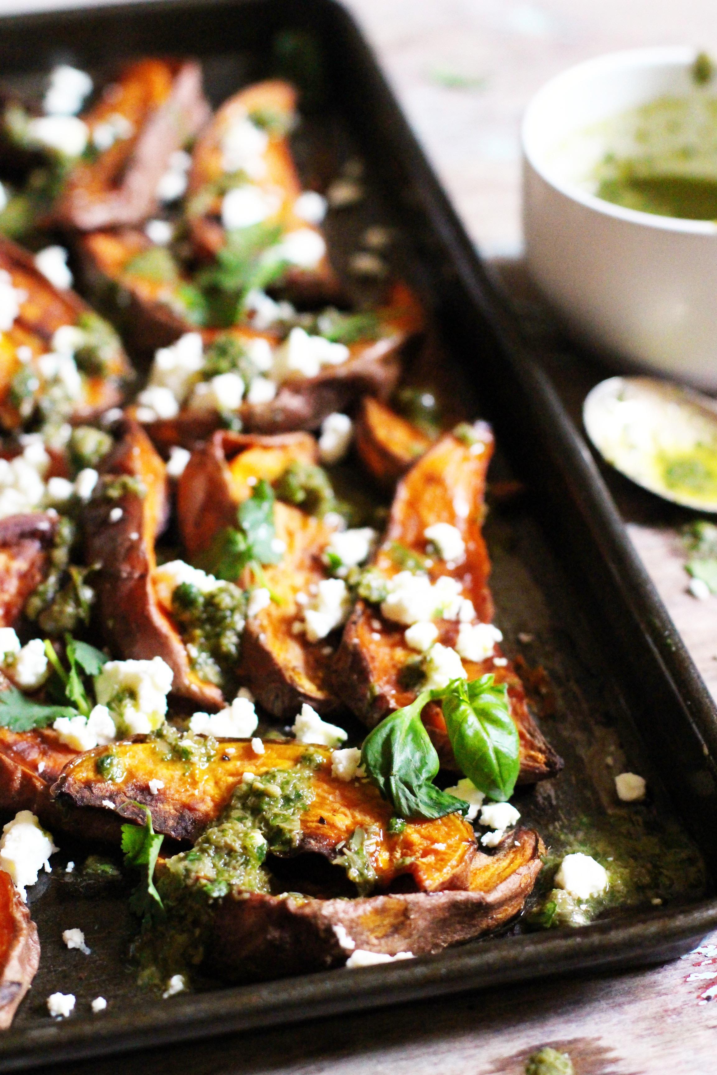Sweet Potato Wedges with Salsa Verde & Feta 6