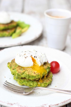 Pea & Halloumi Fritters with Poached Eggs 10