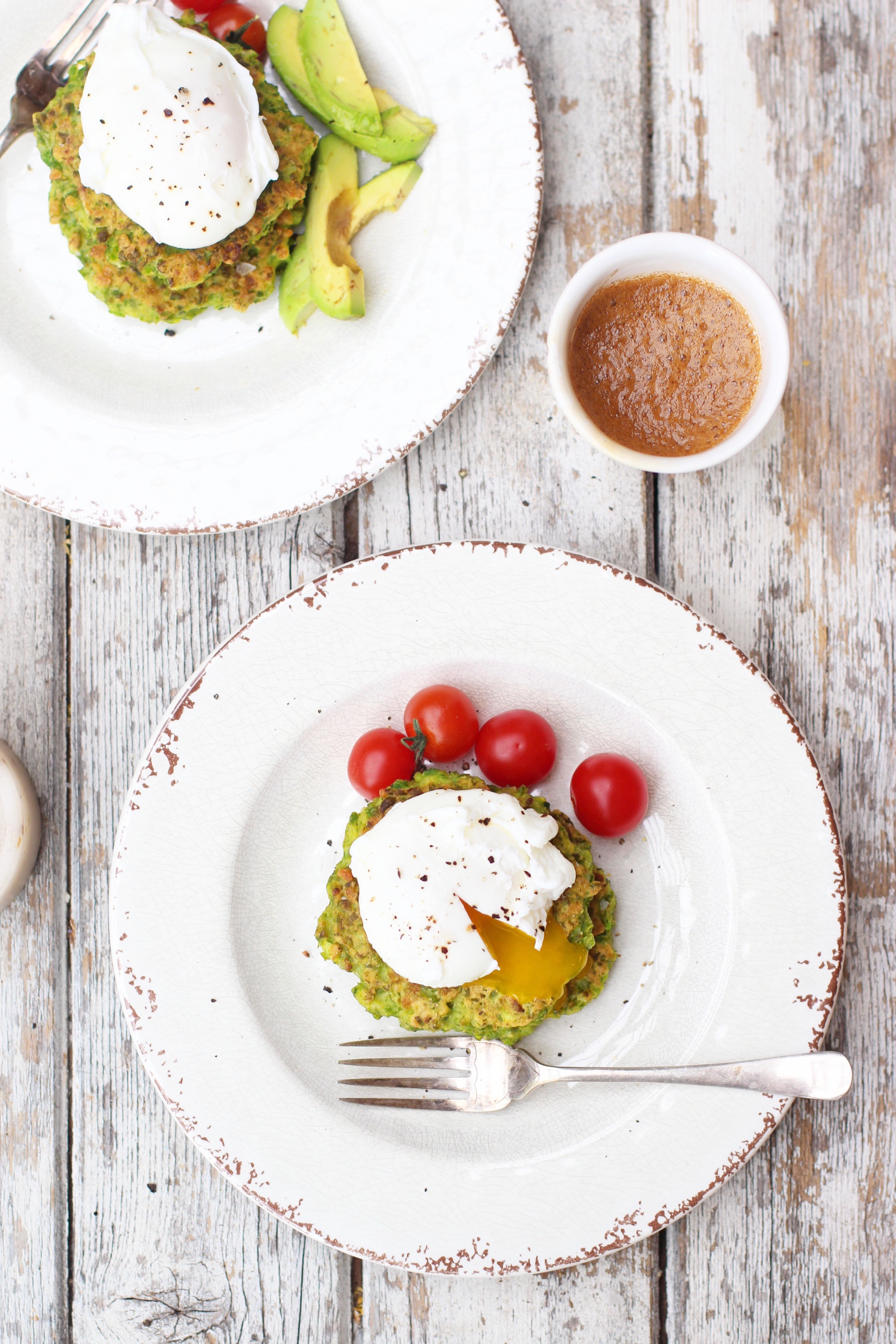 Pea & Halloumi Fritters with Poached Eggs 2